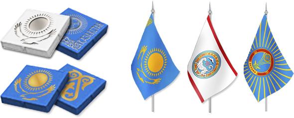 Элементы национальной символики Казахстана на элементах стендов и флажках