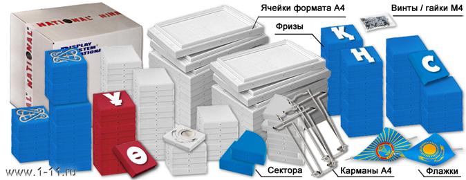 Элементы стенда в разобранном виде. Стенд-конструктор NATIONAL, комплектующие, упаковка.