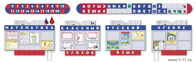 Стендовая композиция для начальных классов с лентой Цифр и лентой Букв (Алфавит) на боковой стене кабинета